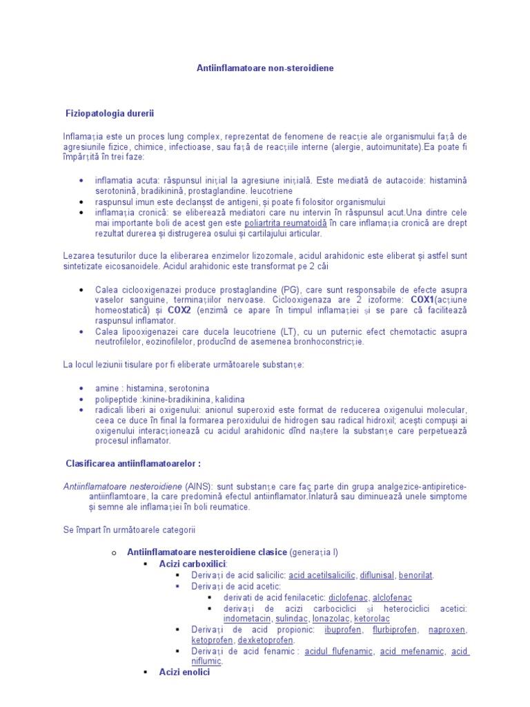 Antiinflamatoare - Ce sunt, Tipuri, Administrare si Efecte adverse